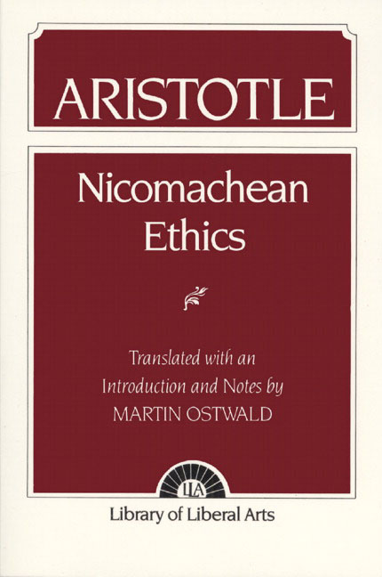 aristotle the nicomachean ethics Aristotle's work, the nicomachean ethics, consists of numerous books pertaining to aristotle's ethics—the ethics of the good life the first book discloses aristotle's belief on moral philosophy and the correlation between virtue and happiness.